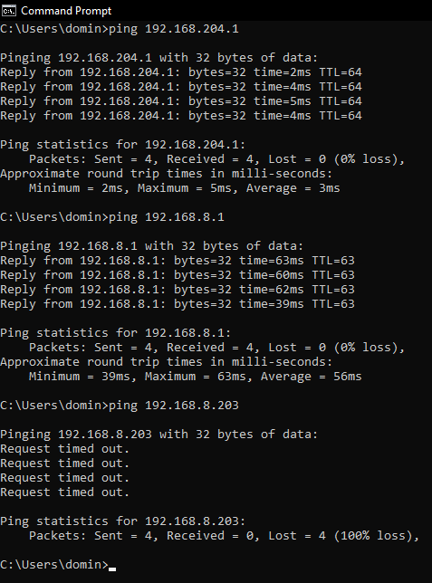 4) Ping Router and Client 1